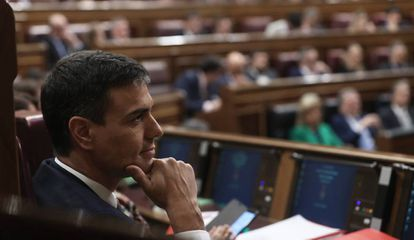 Socialist Party leader Pedro Sánchez during today's debate.