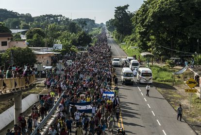 Thousands of Central Americans in a migrant caravan in the Mexican town of Tapachula, near the Guatemalan border, in October 2018.