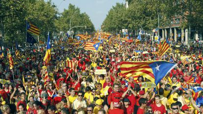 Demonstrators pack the streets of Barcelona to call for independence in the Catalonia region.