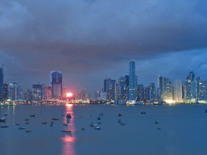 The waterfront and skyscrapers of Panama City.