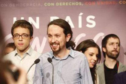 Podemos leader Pablo Iglesias addresses supporters after the Sunday vote.