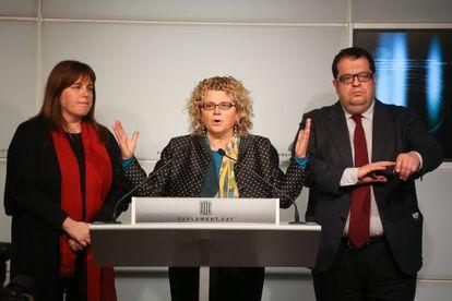 Nuria Ventura, Marina Geli and Joan Ignasi Elena after breaking party voting orders on January 16.