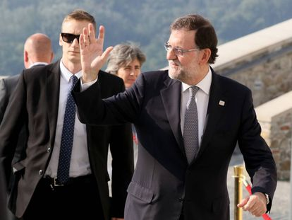 Acting Spanish PM Mariano Rajoy at a EU summit in Bratislava.