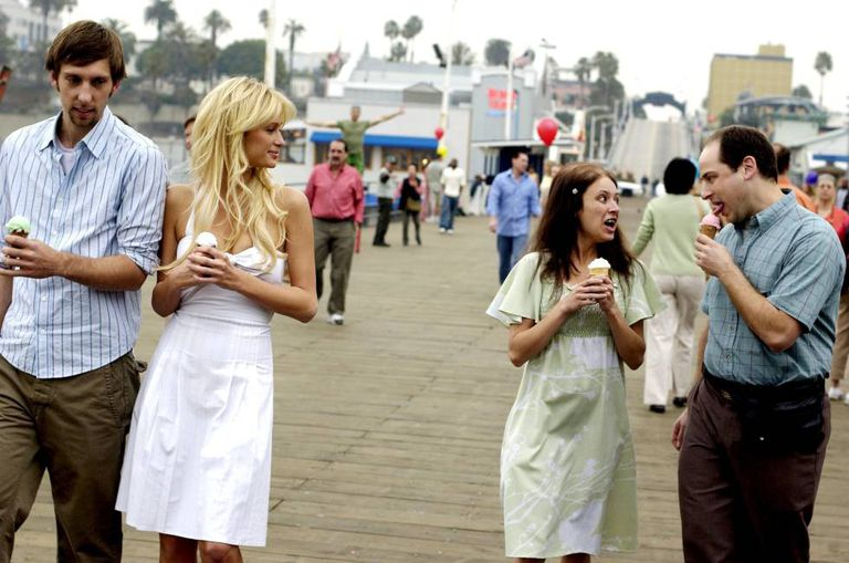 Joel Moore, Paris Hilton, Christine Lakin and Adam Kulbersh in the 2008 comedy, 'The Hottie and the Nottie.'