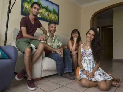 Lola and her family in their home in Gran Canaria.