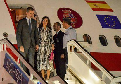 King Felipe VI and Queen Letizia arrive at Havana's Jose Marti International Airport on November 11.