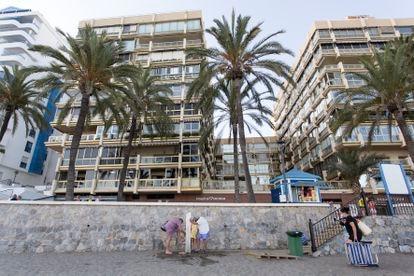 Apartment buildings in the seaside promenade in Marbella.