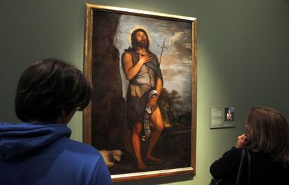 Titian's John the Baptist on display at the Prado after four years of restoration.