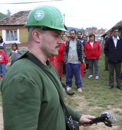 Slovakian nationalist leader Marian Kotleba in 2012, when he tried to destroy shacks in a Gypsy neighborhood in the south of the country.