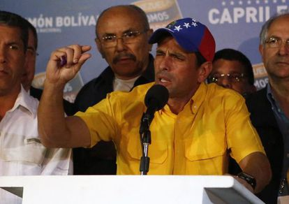 Venezuela's opposition leader Henrique Capriles gestures during a news conference in Caracas on Monday.