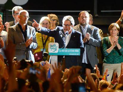 Catalan premier Artur Mas celebrating the election results on Sunday night.