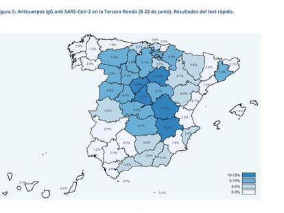 A map showing the prevalence of citizens with coronavirus antibodies in Spain, according to the last wave of a three-part survey.