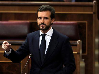 PP leader Pablo Casado in Congress on Wednesday.