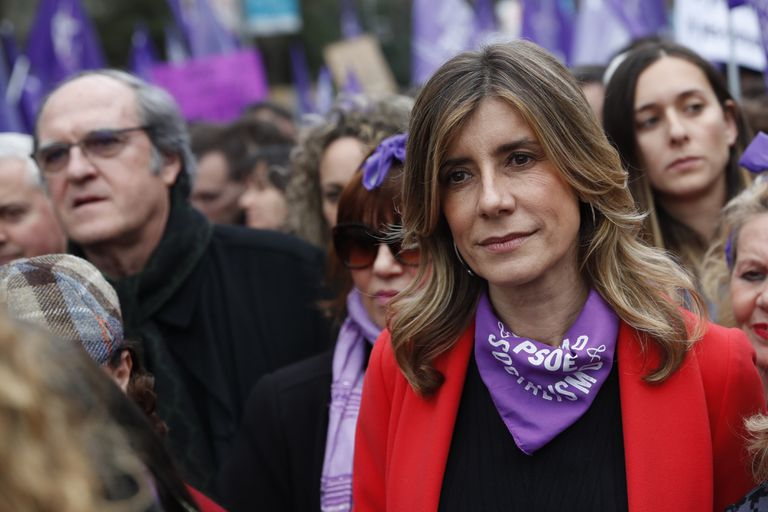 Begoña Gomez at last Sunday's International Women's Day march in Madrid.
