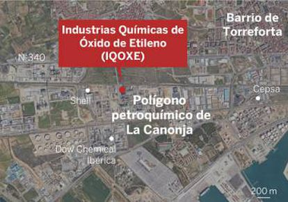 Map of the industrial zone where the accident took place.
