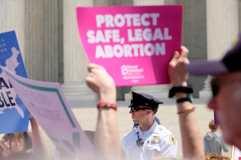 A protest against anti-abortion legislation at the US Supreme Court in Washington in May 2019.