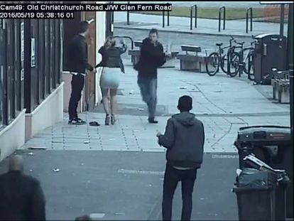 CCTV footage of the moment a man is attacked with a wooden plank.