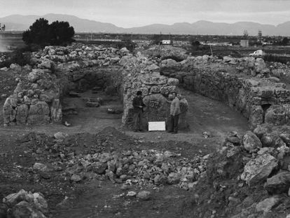 Funerary navetas from the archeological dig in the 1960s that was razed to make way for a runway in Palma.