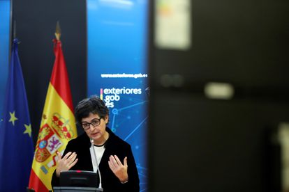 Spain's Foreign Minister Arancha González Laya speaking on Monday.