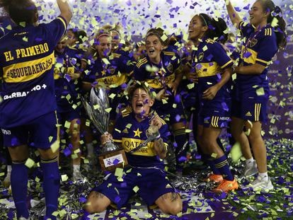 Boca Juniors players celebrate winning the league title in January, 2021.