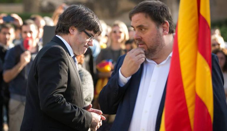 Carles Puigdemont and Oriol Junqueras, on October 15.
