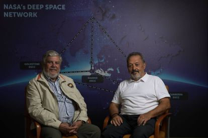 Jose Manuel Grandela (l) and Carlos González in the deep space monitoring station in Robledo de Chavela, Madrid.