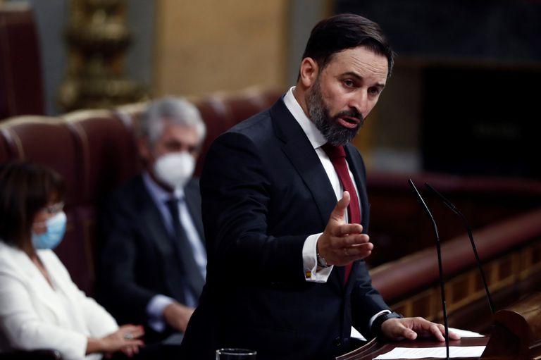 Vox leader Santiago Abascal speaking in Congress on Wednesday.