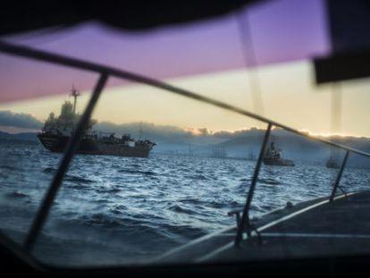 A Spanish customs surveillance speedboat patrols the Strait.