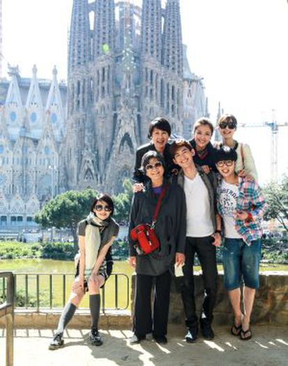 The seven stars of the reality show in Barcelona.