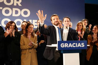 Popular Party leader Pablo Casado speaks to supporters at party headquarters during Spain's general election.