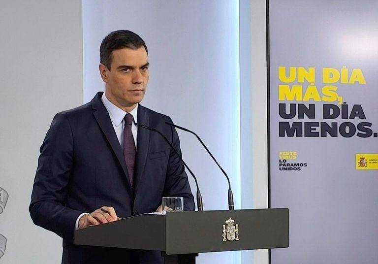 Spanish Prime Minister Pedro Sánchez during Saturday's press conference.