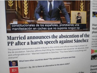 The translated version of the EL PAÍS homepage that spread like wildfire on Twitter last week.