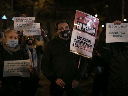 A demonstration in Barcelona on Thursday against coronavirus restrictions.