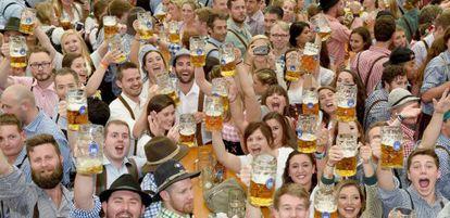 People celebrate Oktoberfest in Munich on September 13.