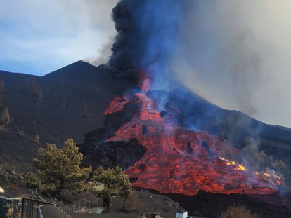 Lava flowing out of the volcano in La Palma on Tuesday.