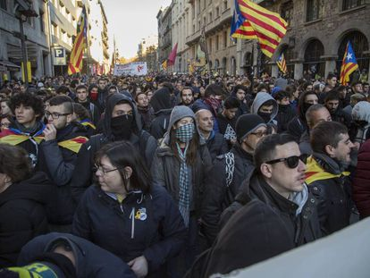 Pro-independence groups have called protests across Barcelona.
