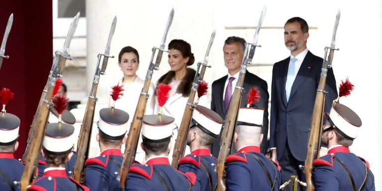 Spain's King Felipe and Queen Letizia with Macri and his wife Juliana Awada.