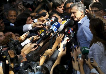 Macri speaks to the media after his victory was announced.