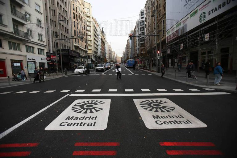 The start of the Madrid Central scheme at Gran Vía.