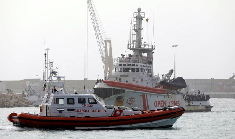 The Proactiva Open Arms NGO ship, this past saturday in the port of Pozzallo (Italy).