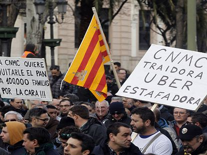 Video: Taxi drivers and their families protest in Madrid on Thursday.