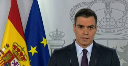 Prime Minister Pedro Sánchez at the news conference on Saturday night.