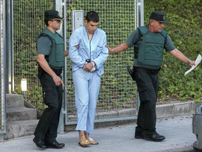 Mohamed Houli Chemla, who was injured in an explosion while making bombs, is transfered on Tuesday morning to Spain's High Court.