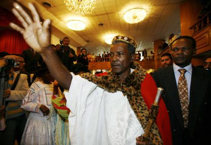 Afro-Bolivian King Julio Pinedo greets his followers.