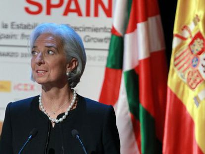 Managing director of the IMF, Christine Lagarde, in Bilbao on Monday.