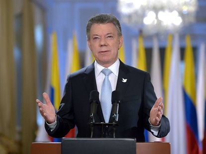 Juan Manuel Santos announces the end of taks with the FARC.