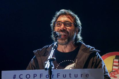 Spanish actor Javier Bardem delivers a speech at the climate rally in Madrid.