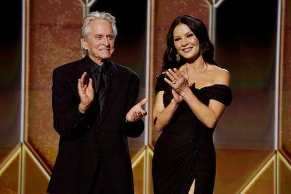 Michael Douglas and Catherine Zeta-Jones at the Golden Globe Awards in 2021.