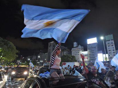 Macri supporters celebrate his election win.