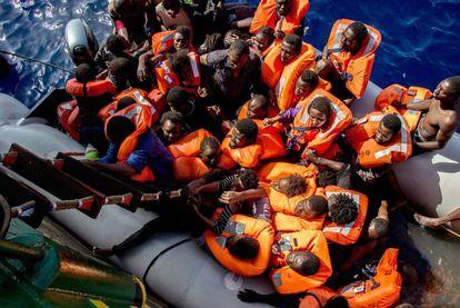 A Médecins Sans Frontières vessel rescues people in the Mediterranean.